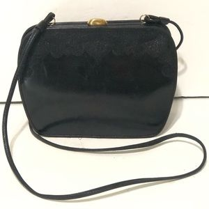 Oscar De La Renta Vintage Leather Black Crossbody